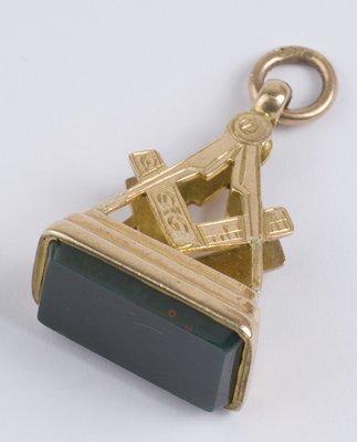 19: Antique Masonic stone set fob