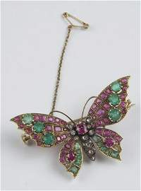 225: Antique stone set butterfly brooch