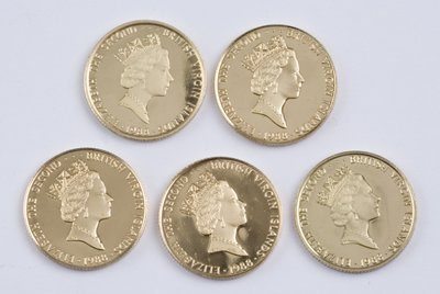 410: British Virgin Islands gold coins (5)