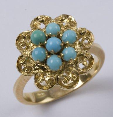 2: Ladies' turquoise cluster ring