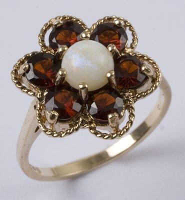 10: Ladies' opal & garnet cluster ring