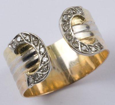 18: Ladies' diamond set torque type ring