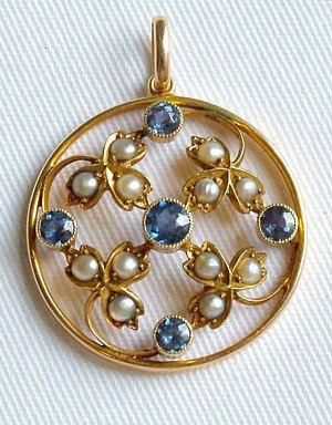2: Antique sapphire and seed pearl pendant