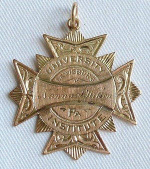 23: University of Lewisburg Class of 1887 fob shield