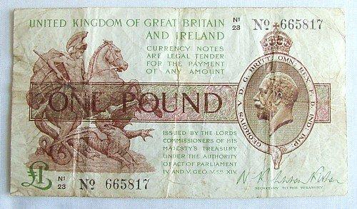 1443: Warren Fisher £1 note