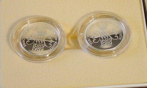 """1016: Elizabeth II, silver piedfort £2 coins (2) """""""
