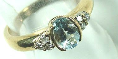 774: Ladies' blue topaz and diamond ring