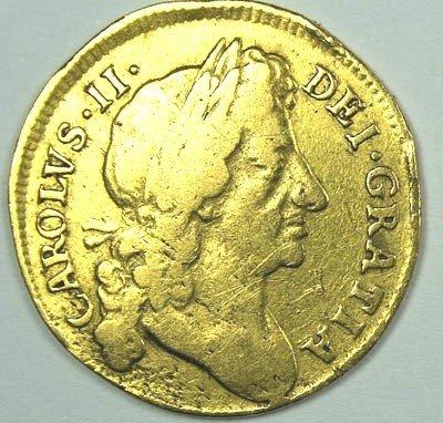 1157: Charles II half guinea, 1679