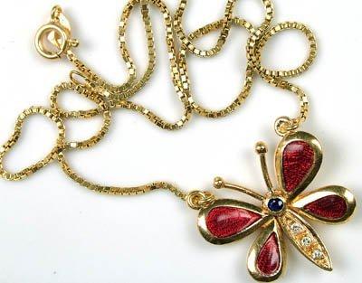10: Enamelled butterfly necklet