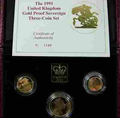 604: Elizabeth II, gold proof set, 1991