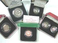 660 Elizabeth II silver proof 5 coin 1990 etc