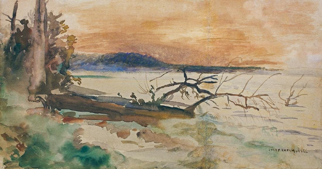 Chelmonski Jozef - THE SUNSET OVER THE LAKE SWITEZ,