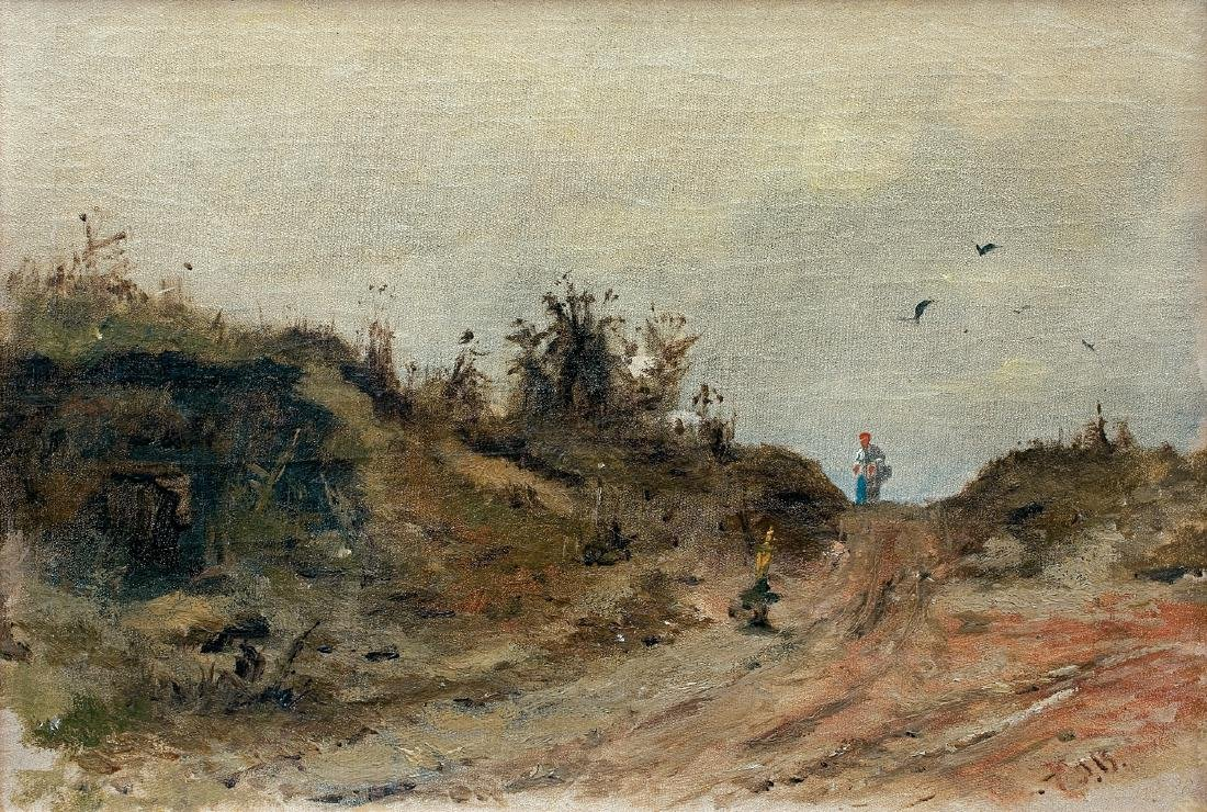 Brandt Jozef - LANDSCAPE WITH A WOMAN, CA. 1870