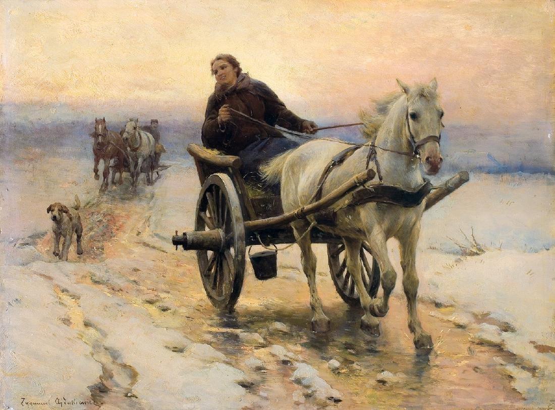 Ajdukiewicz Zygmunt - WINTER RIDE WITH SHAY, CIRCA 1890