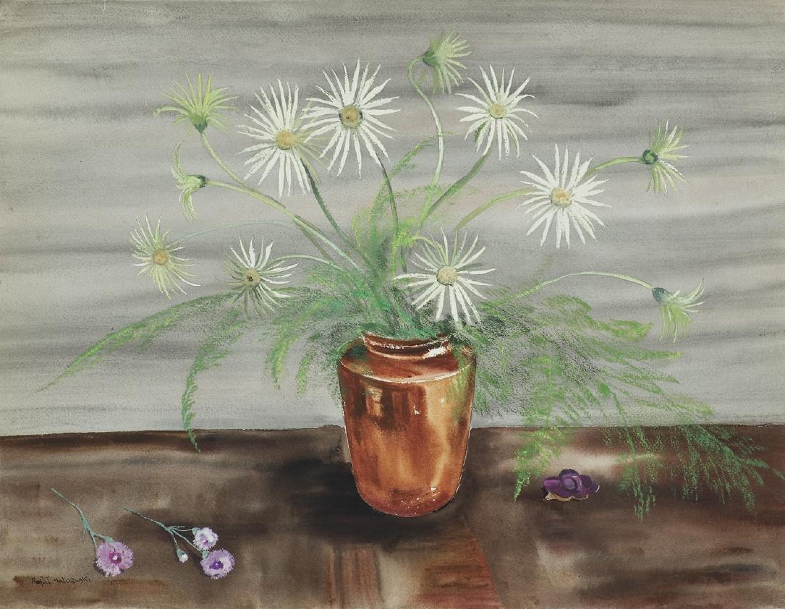 Malczewski Rafal - WHITE FLOWERS IN BROWN  VASE, 1942