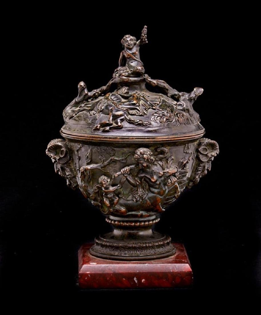 FRENCH NEOCLASSICAL BRONZE & ROUGE GRIOTTE MARBLE URN