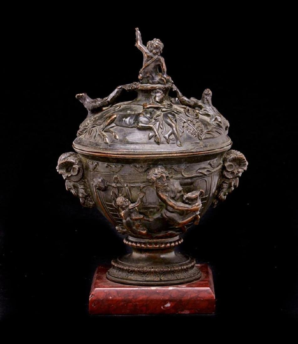 FRENCH NEOCLASSICAL BRONZE & ROUGE GRIOTTE MARBLE URN - 2