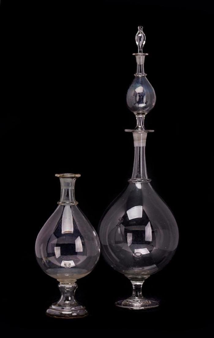 2 LARGE GLASS PHARMACY DISPLAY BOTTLES
