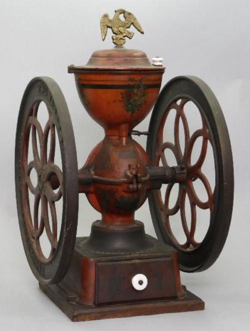 PAINTED AND STENCIL DECORATED CAST IRON COFFEE GRINDER