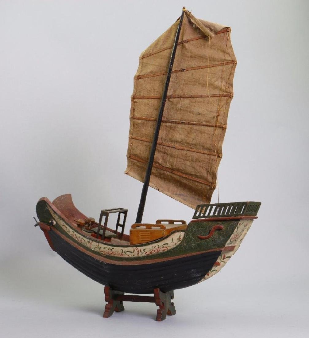 CARVED & PAINTED WOOD MODEL OF ASIAN SAILING JUNK
