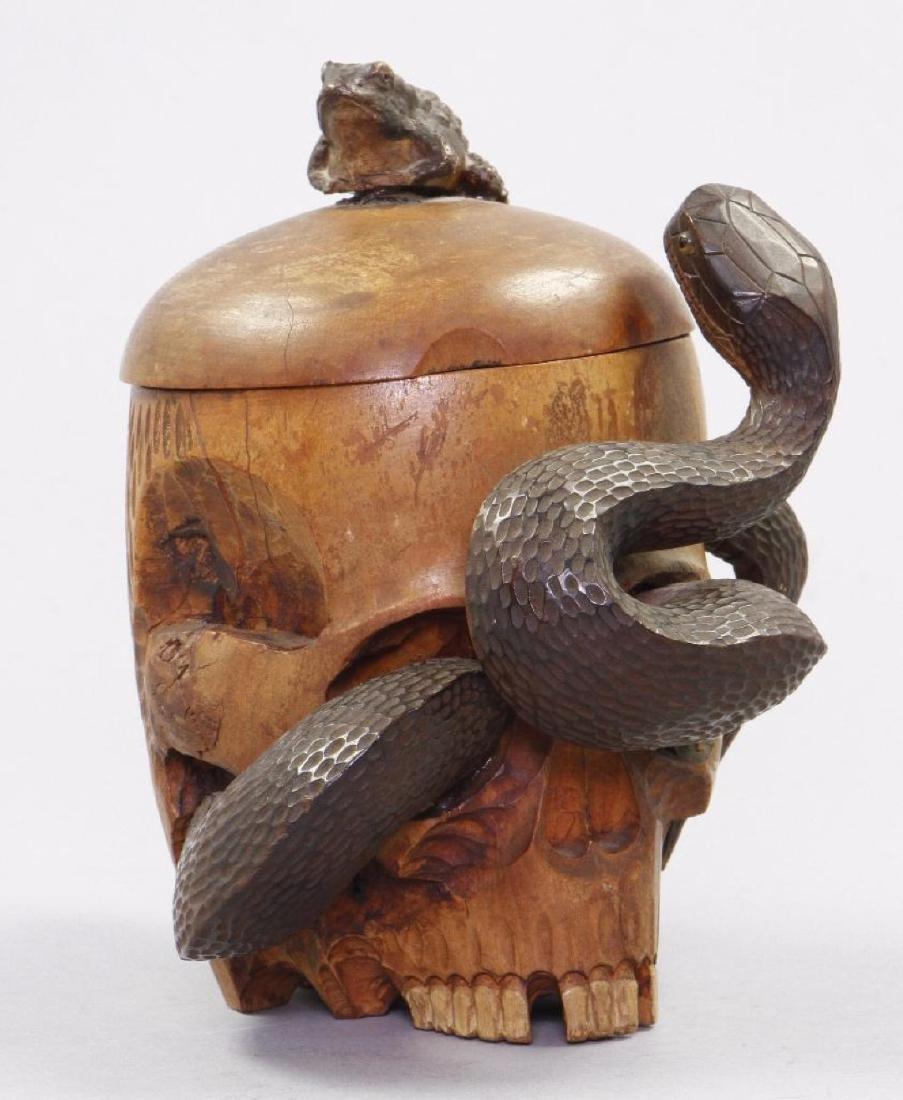 FOLK ART CARVED & PAINTED WOOD SKULL TOBACCO JAR