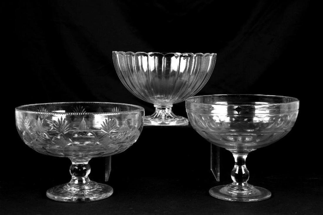 THREE FLINT GLASS COMPOTES, 19THC.