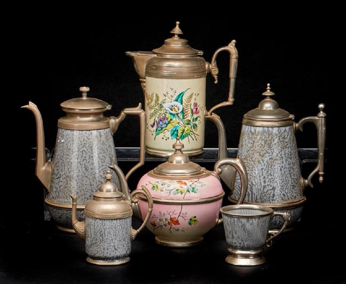 TWO ENAMEL AND PEWTER COFFEE POTS, LATE 19THC.