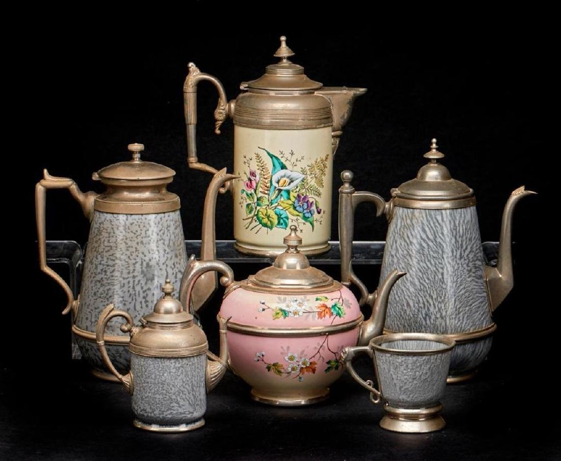TWO ENAMEL AND PEWTER COFFEE POTS, LATE 19THC. - 2