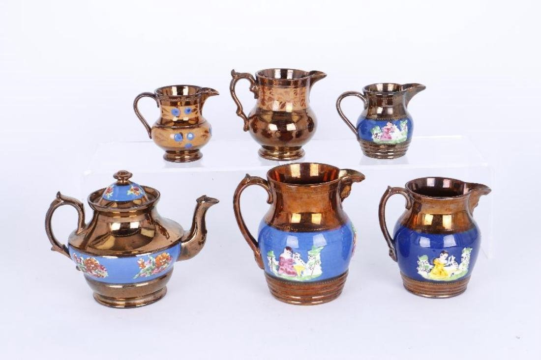 FIVE COPPER LUSTRE PITCHERS,AND A TEAPOT, 19THC. - 2