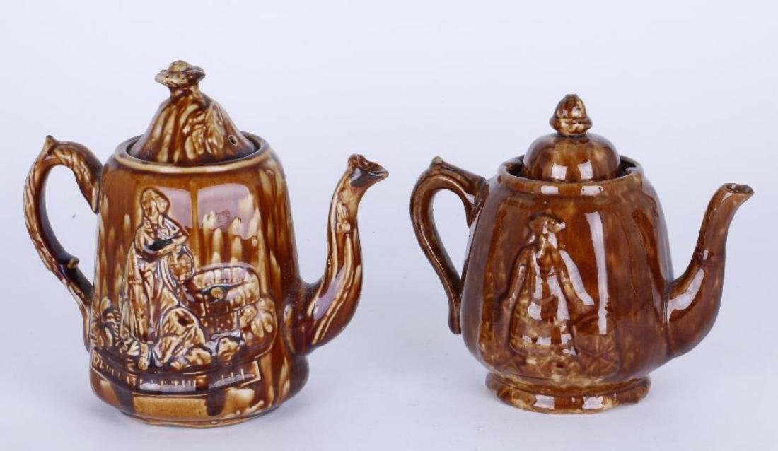 TWO BENNINGTON TEAPOTS, 19THC.