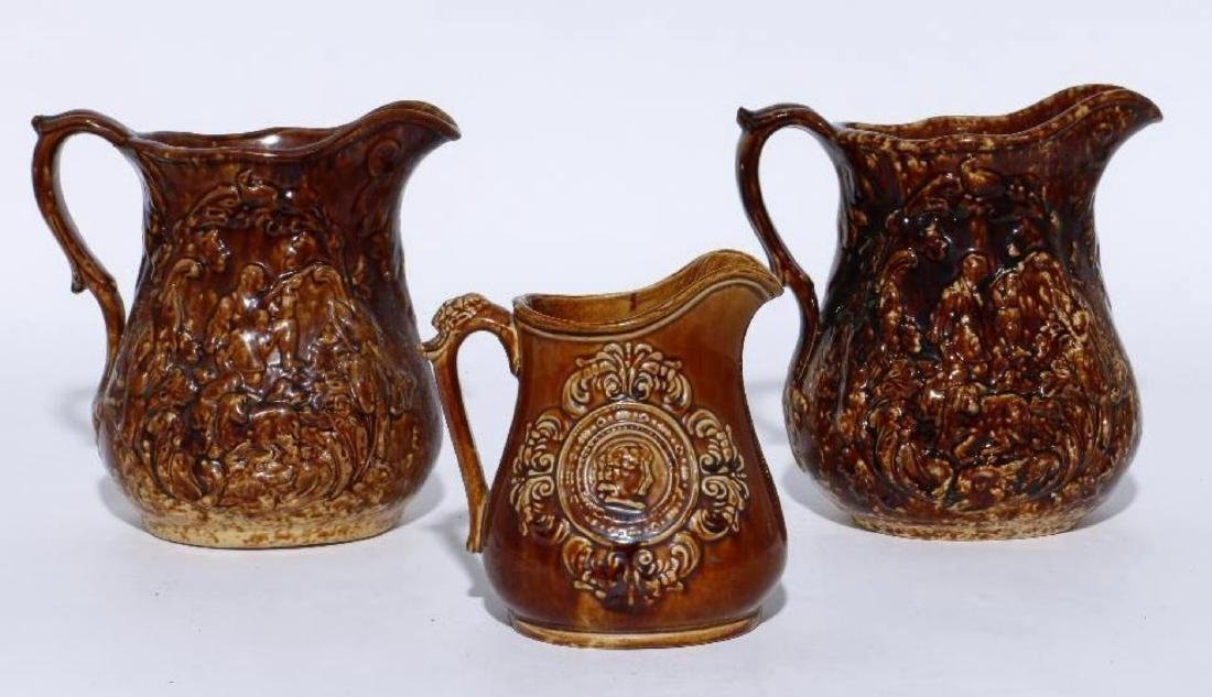 THREE BENNINGTON PITCHERS, 19THC.