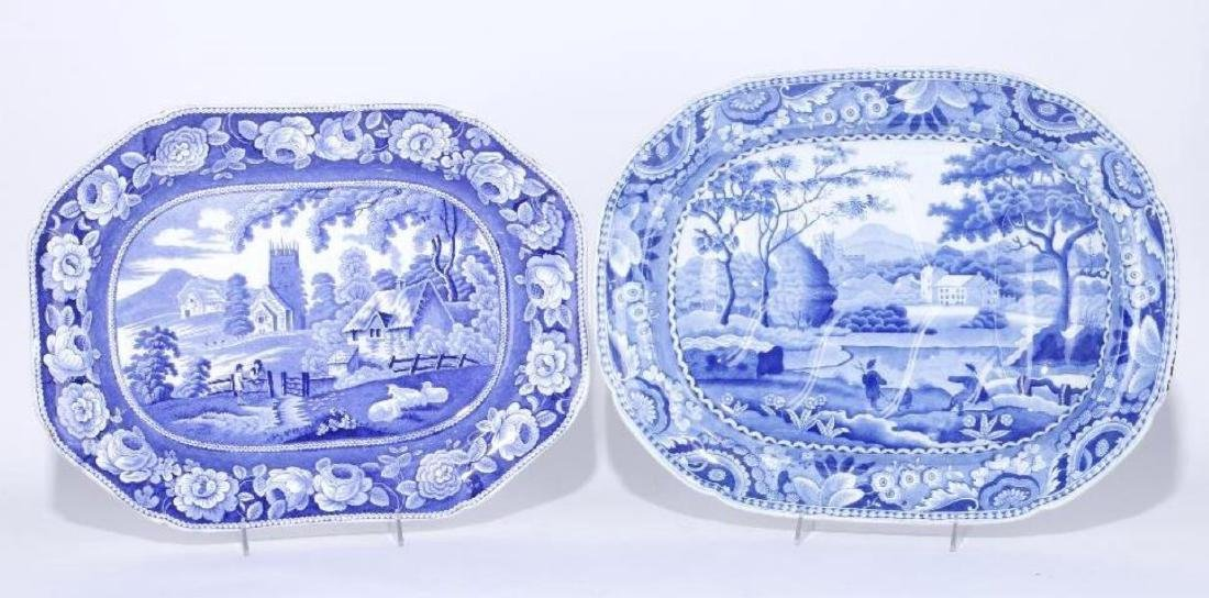 TWO STAFFORDSHIRE BLUE AND WHITE PLATTERS, 19TH C.