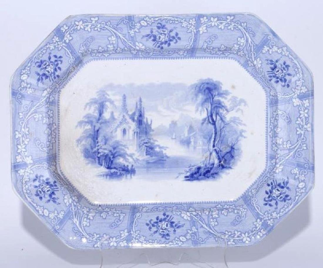 A STAFFORDSHIRE, BLUE AND WHITE PLATTER, 19TH C.