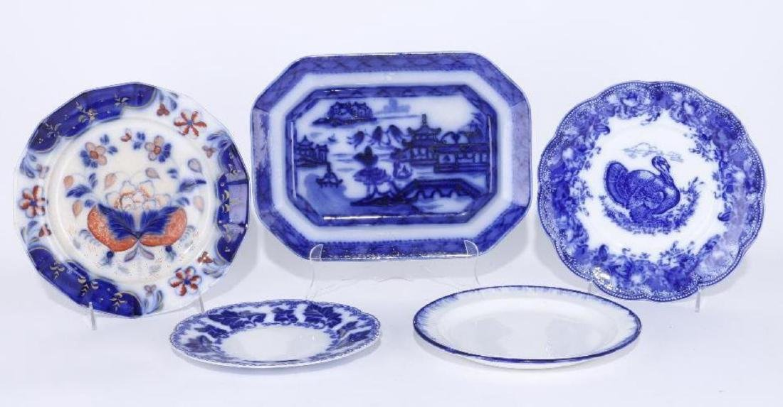 4 BLUE TRANSFER DECORATED PLATES & PLATTER 19TH/20THC.