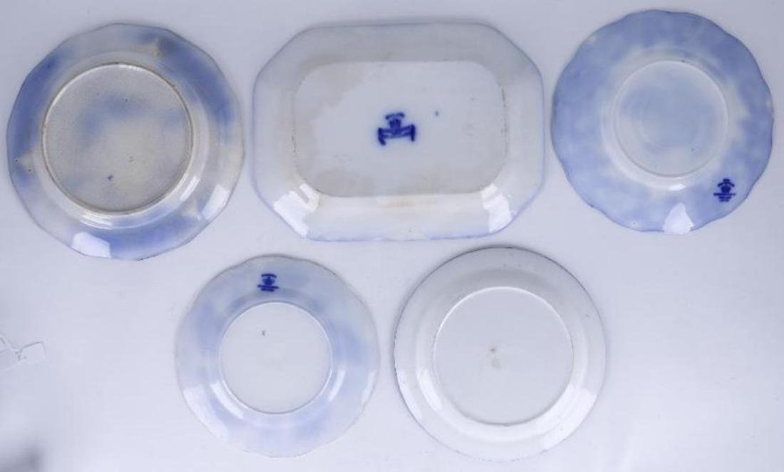 4 BLUE TRANSFER DECORATED PLATES & PLATTER 19TH/20THC. - 2