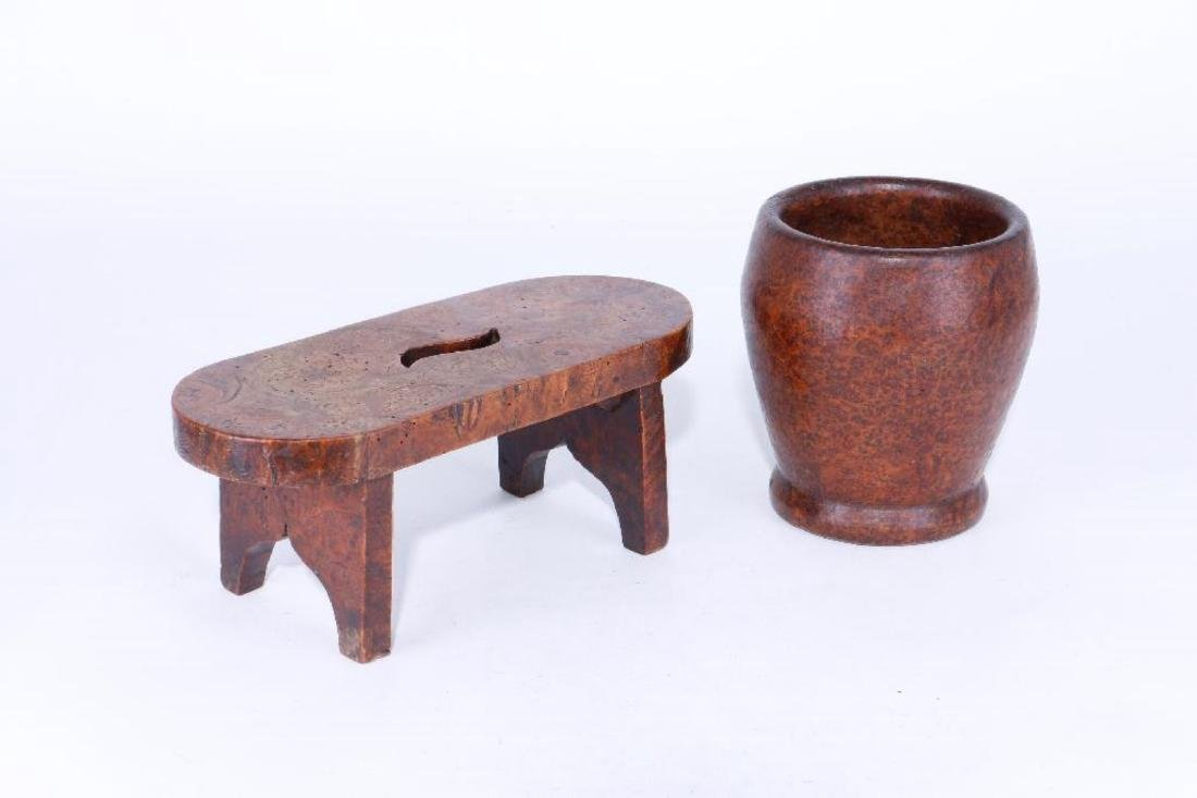 A BURLWOOD MORTAR, AND MINIATURE STOOL, 19TH CENTURY - 2