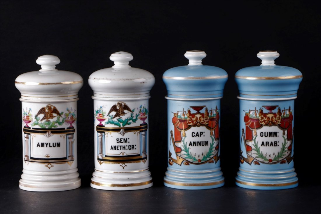 4 FRENCH PORCELAIN APOTHECARY JARS FOR MEXICAN MARKET