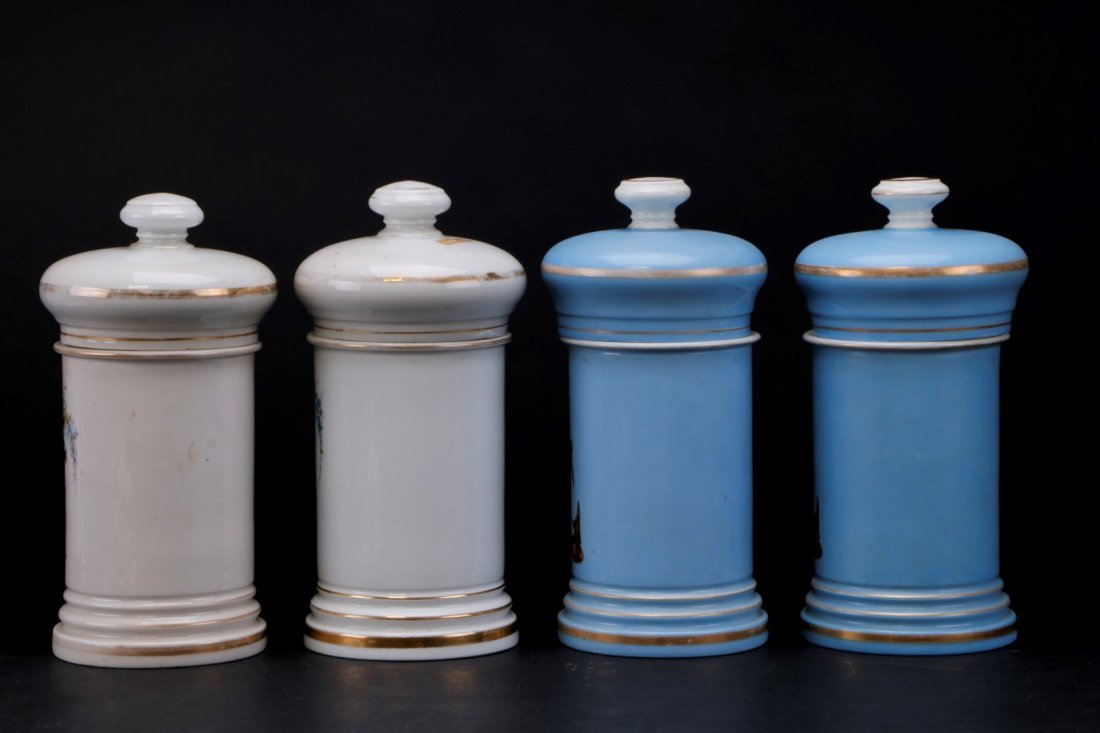 4 FRENCH PORCELAIN APOTHECARY JARS FOR MEXICAN MARKET - 2