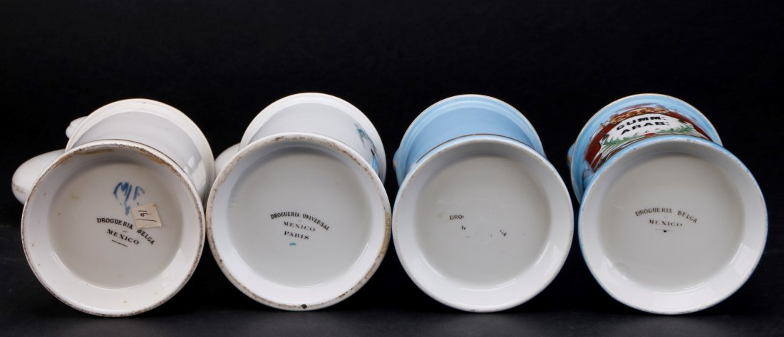 4 FRENCH PORCELAIN APOTHECARY JARS FOR MEXICAN MARKET - 3