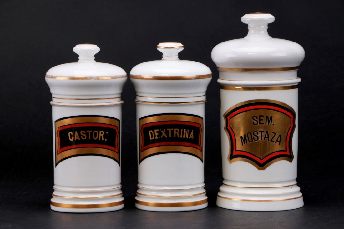THREE FRENCH PORCELAIN APOTHECARY JARS, 19TH CENTURY