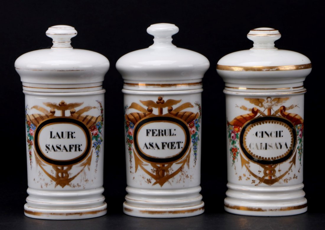 3 FRENCH PORCELAIN APOTHECARY JARS, 19TH CENTURY