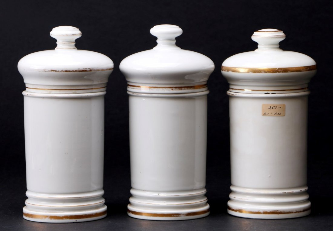 3 FRENCH PORCELAIN APOTHECARY JARS, 19TH CENTURY - 2