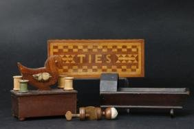 AN AMERICAN SEWING BOX, SEWING CUSHION, 19TH/20TH C.