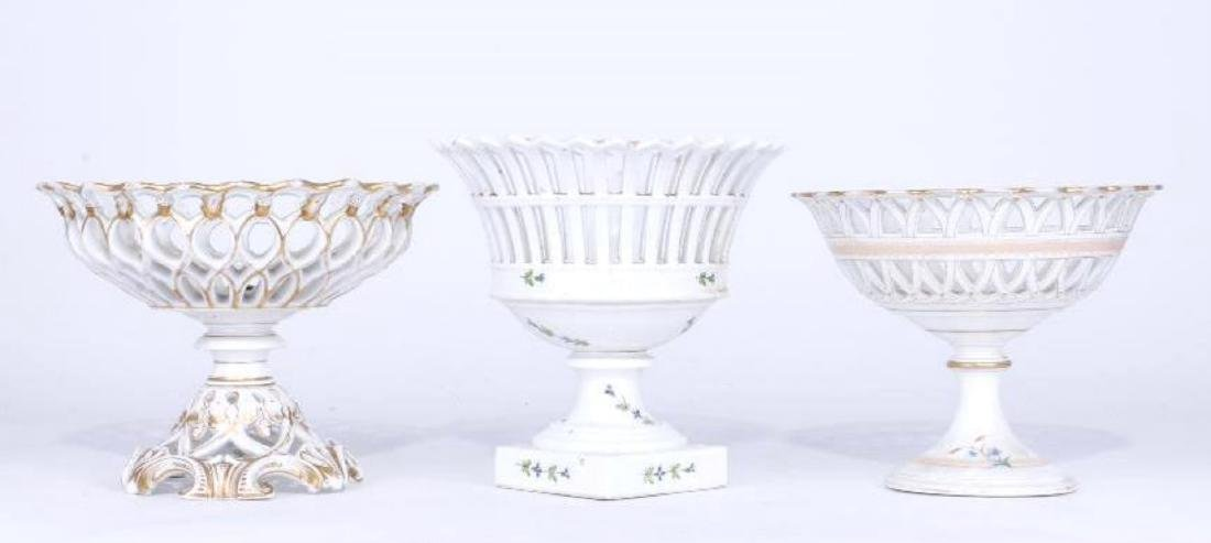 3 GILT, PAINTED PORCELAIN RETICULATED COMPOTES 19TH C.