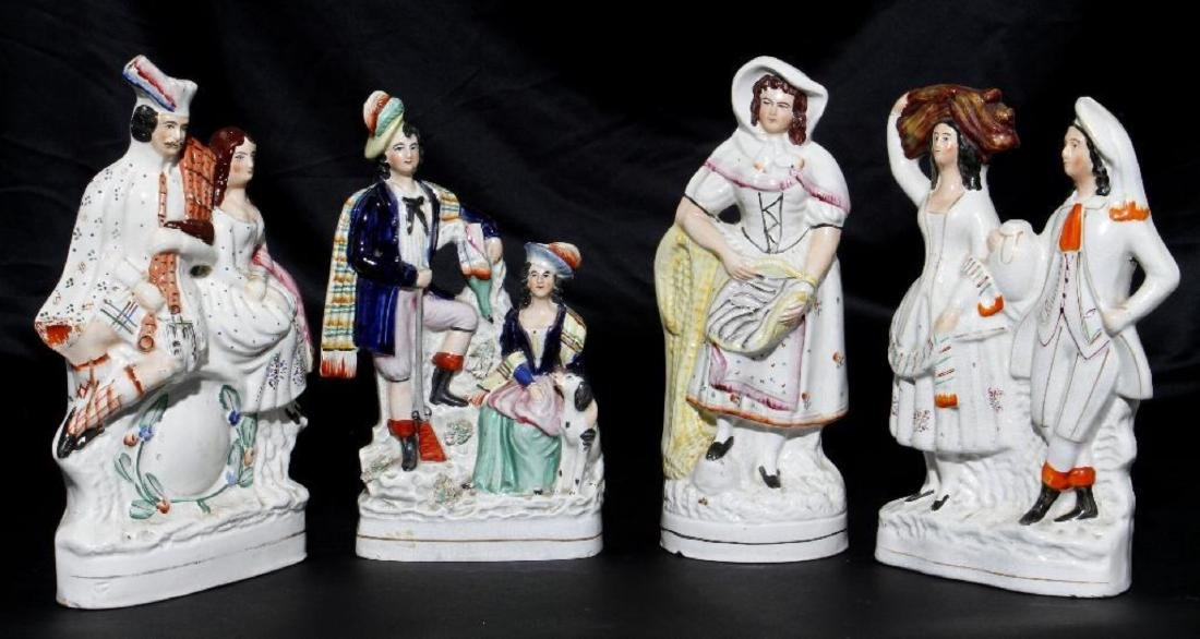 FOUR STAFFORDSHIRE, FIGURAL GROUPS, 19THC.