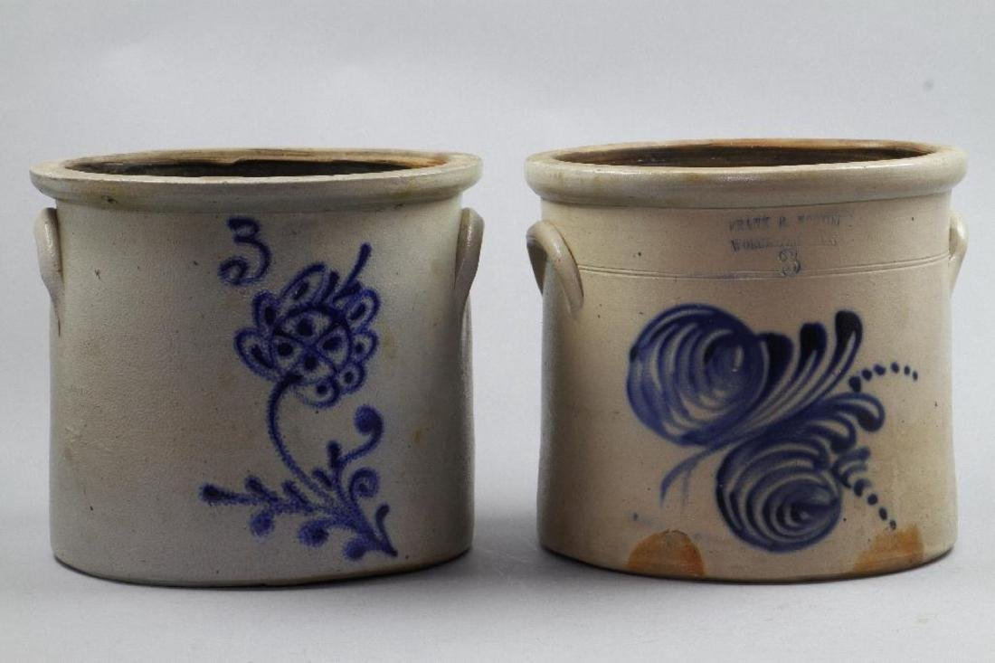 TWO BLUE DECORATED SALT GLAZED STONEWARE CROCKS 19THC.