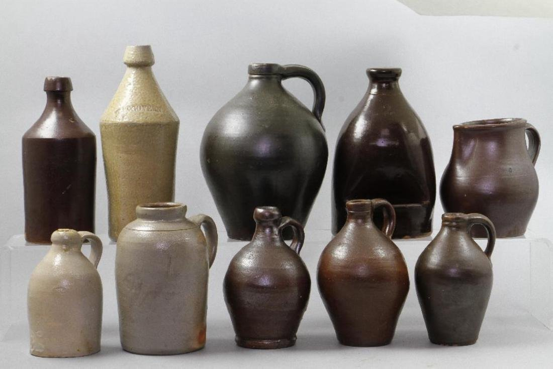 SIX SALT GLAZED AND REDWARE JUGS, 19TH CENTURY