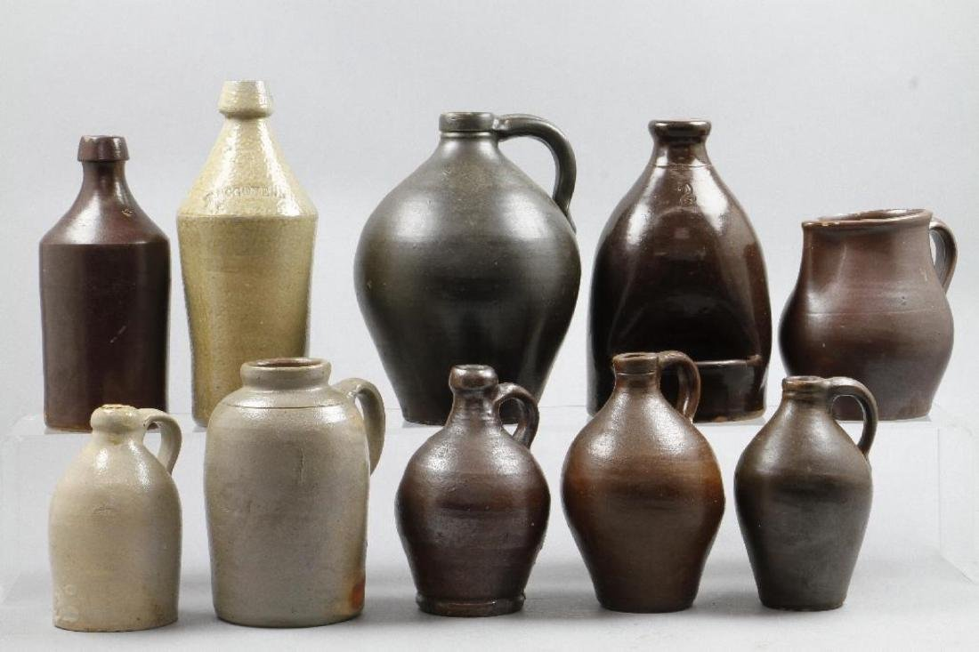 SIX SALT GLAZED AND REDWARE JUGS, 19TH CENTURY - 2