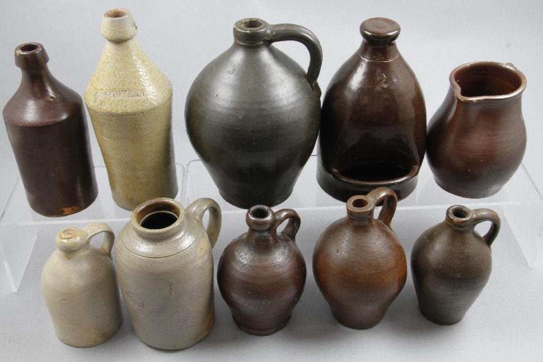 SIX SALT GLAZED AND REDWARE JUGS, 19TH CENTURY - 3