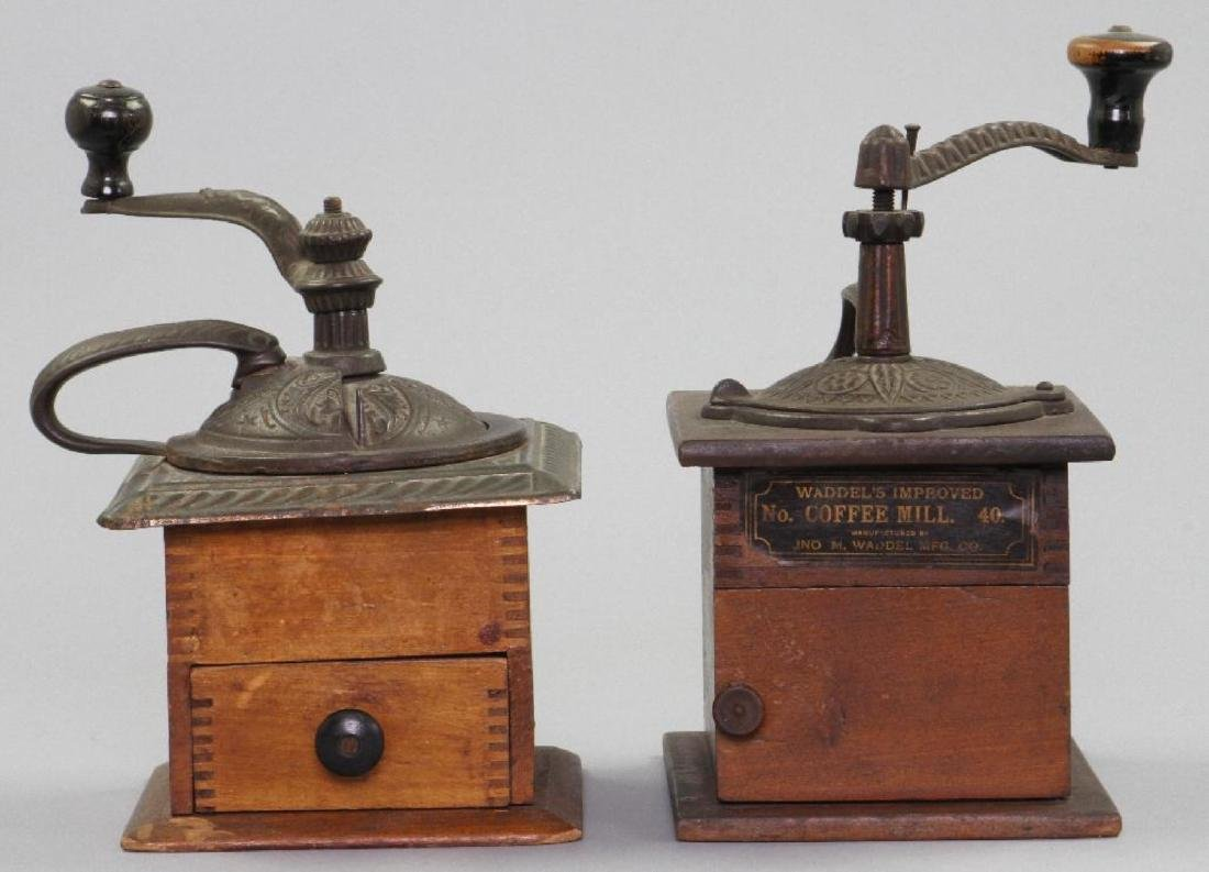 TWO CAST IRON AND WOOD COFFEE GRINDERS, 19THC.